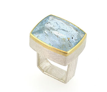 'Monolith' ring, natural blue topaz set in 18ct gold and sterling silver