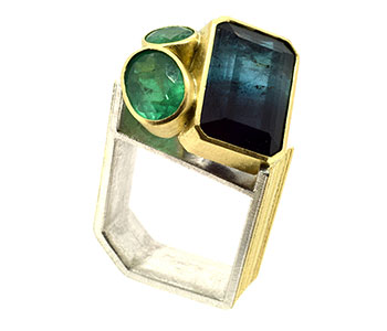 'Monolith' ring, bi-colour tourmaline and emerald set in 18ct gold and sterling silver