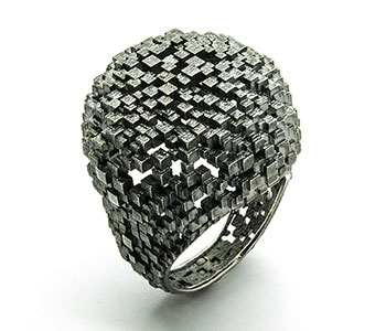 Jo Hayes Ward - 'Antique Sphere Structural' ring in oxidised silver £1056