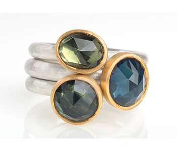 Rings in silver, 22ct gold, rose-cut Australian sapphires