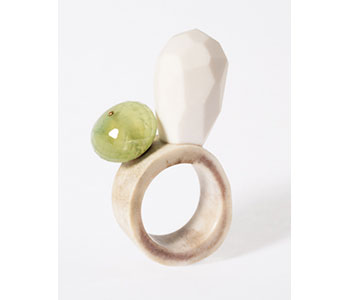 Stephanie Jendis - 'Weißkogel' ring made from reindeer horn with faceted ivorite and prehnite and 18ct yellow gold detail £540