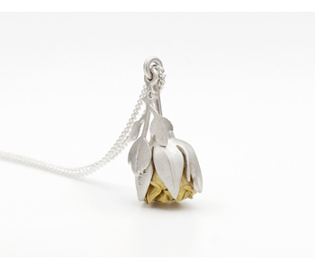 Kinetic Rose locket in silver and 18ct gold with diamond