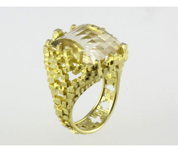 Ring in 18ct yellow gold with citrine