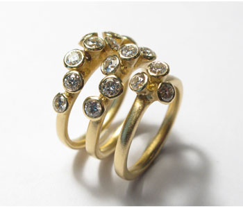 18ct yellow gold and diamond rings