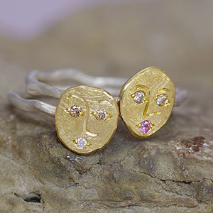 Faces – silver Rose Root rings with molten 9ct yellow gold sunny faces set with diamonds and sapphire