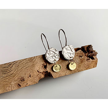 Flora earrings in 18ct yellow gold and silver