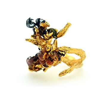 'Twisted Tendril' stacking rings in gold plated silver with Shibori textile detail from the series 'Decadent Demise'