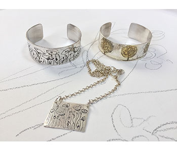 Meadow and Trees – pendant and silver cuffs with etching