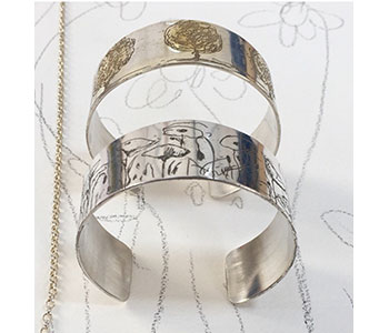Meadow and Trees – silver cuffs with etching