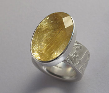 Etched ring in silver with rutilated quartz
