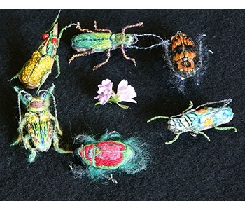 Bugs – brooches embroidered in hand dyed Kimono silks