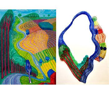 This finger knitted wire necklace inspired by David Hockney's 'Going up Garrowby Hill' was created to mark his 80th birthday