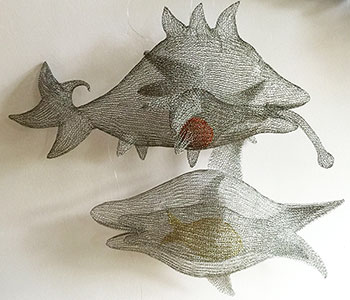 Fish ate Red Ball and Fish ate Fish which ate a Golden Fish - finger knitted zinc wire sculptures