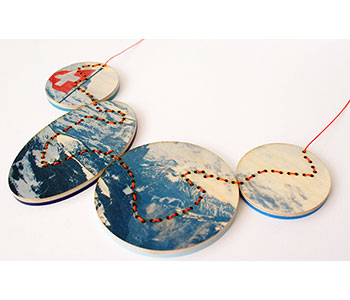 Mount Schilthorn – necklace in plywood, acrylic, cord