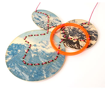 Swiss Mountains necklace - plywood, acrylic, cord