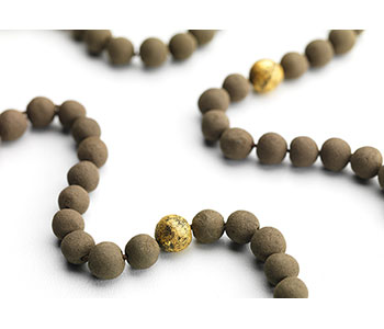 Prayer Beads – necklace in soil, freshwater pearls and gold leaf – finished piece
