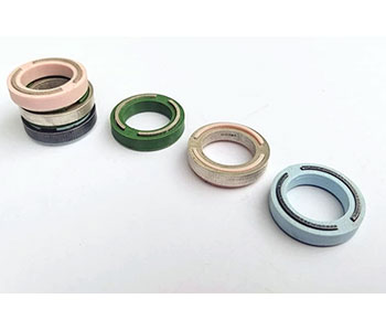 Inlay - rings in PLA plastic, cast oxidised silver, cast silver