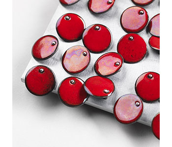 Waves of Red - brooch in aluminium and precious white metal, with enamelled copper