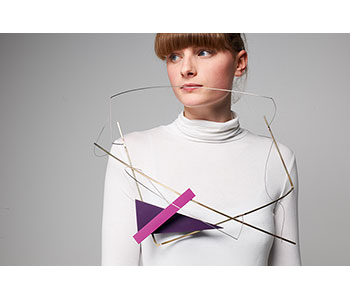 Human Geometry - neckpiece in Formica, piano wire, nickel silver wire, steel piano wire with copper rivets